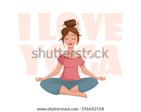 Yoga class illustration download free vector art stock graphics the girl in the lotus pose meditates i love yoga a girl character in mightylinksfo