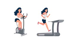 The girl is engaged in a stationary bike. Woman runs on a treadmill. The concept of sport and healthy lifestyle. Isolated. Vector.