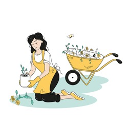 The girl is engaged in gardening in her garden. He plants the prepared seedlings, behind him is a garden wheelbarrow with dug-out weeds. Doodle-style drawing.