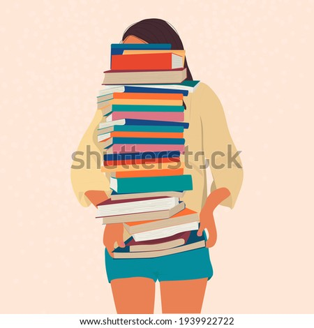 The girl is holding a huge stack of books. Bibliopole and bibliomania. A type of mania. Foto d'archivio ©