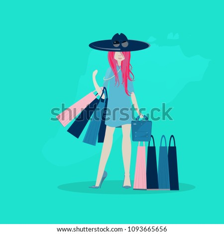 the girl is shopping flat style