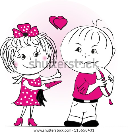 The girl offers the boy to eat healthy food, vector illustration