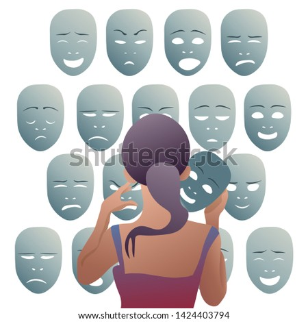 The girl removes the mask of emotion of joy, to put it to his other emotions. Vector illustration.