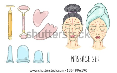 The girl s face with closed eyes and drawn massage lines, which is applied to the cream and facial massage is done. Tools for massage guasha and vacuum cans. Vector color illustration drawn by hand.