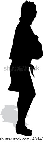 The girl's silhouette with a handbag
