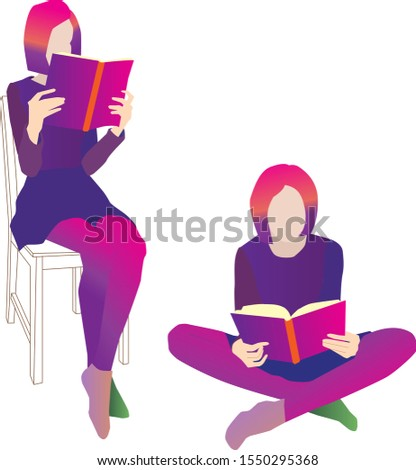 the girl sits and reads. Bright neon colors, white background. Love to read. Pink hair.