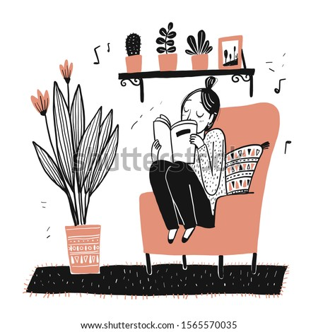 The girl sits reading her favorite book on her favorite sofa.Moments of relaxation the appearance and lifestyle. Collection of hand drawn. Vector illustration in sketch doodle style.
