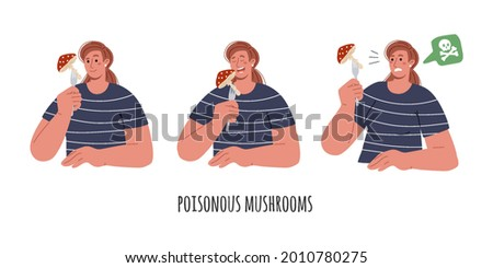 The girl wants to eat a poisonous mushroom, eat a fly agaric, understand that the mushroom is poisonous.Poisoning of poisonous fungi.Set of different poses.Vector flat illustration.
