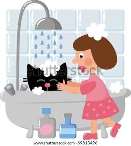 The girl washes the cat