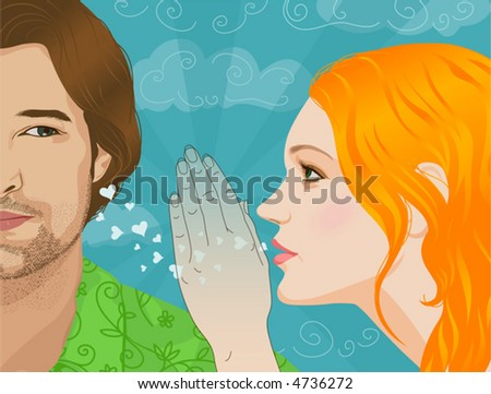 The girl whispers to the young man that loves him. - stock vector