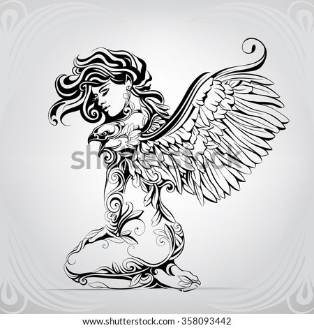 Stock Photo The girl with wings of an eagle