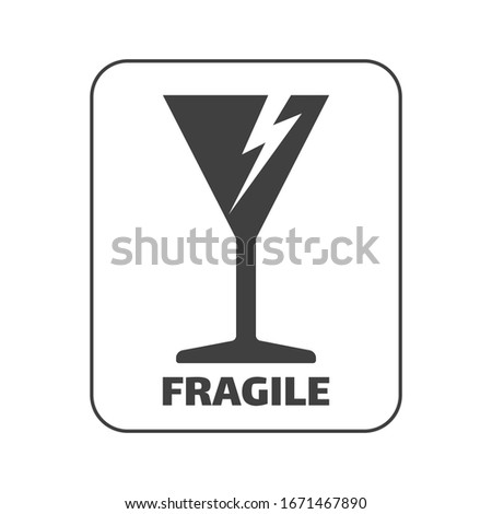 The glass and lightning icon symbolizes FRAGILE and please be careful. Fragile sticker can used for carton warning handle with care, fragile mark, package markings, stamp fragile label icons.