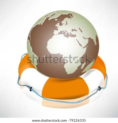 The globe and lifebuoy ring. Vector illustration.