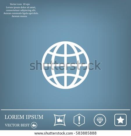 The globe icon. Globe symbol. Flat Vector illustration