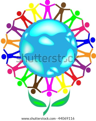The globe in the form of a flower and people of a planet of different races