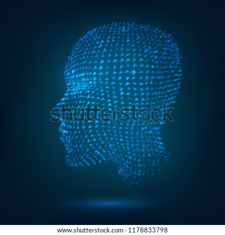 The glowing head of a human from pieces, a hollogram. Concept: technology, artificial intelligence, the human soul