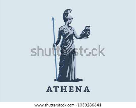 the goddess athena holds an owl