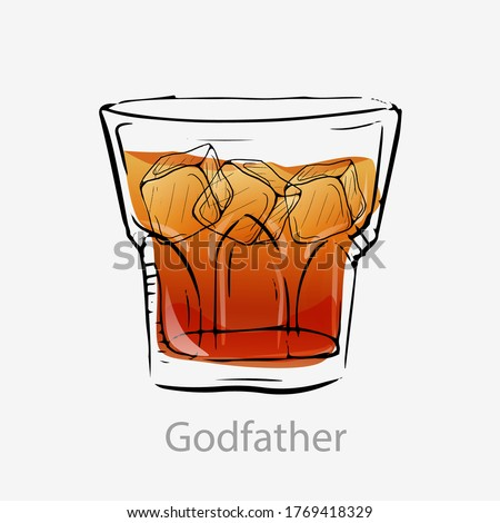 The godfather cocktail. Light orange cocktail ice cubes alcoholic digestif based scotch amaretto sugar syrup served vector glass old fashion with ice category modern classic.