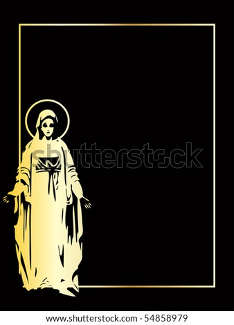 the gold vector Virgin Mary statue eps 8