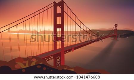 the golden gate bridge in sunset