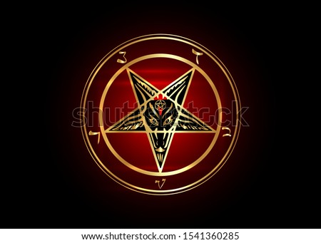 The Golden Sigil of Baphomet original Goat Pentagram on a bloody satanic symbol, vector isolated or black and dark red background