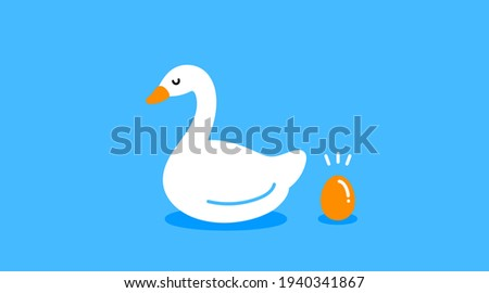 The Goose that Laid the Golden Eggs vector illustration blue Stockfoto ©