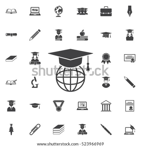 The graduation cap and globe icon. Education set of icons