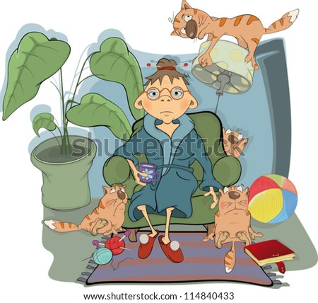 The grandmother and her cats. Cartoon