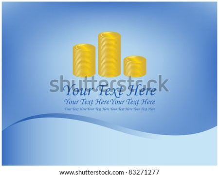 The graph of gold coins on abstract blue background