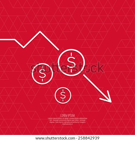 The graph shows the fall and profits decline. Loss of points Currency. Falling through asset outflows. Red background. dollar symbol. minimal. Outline.