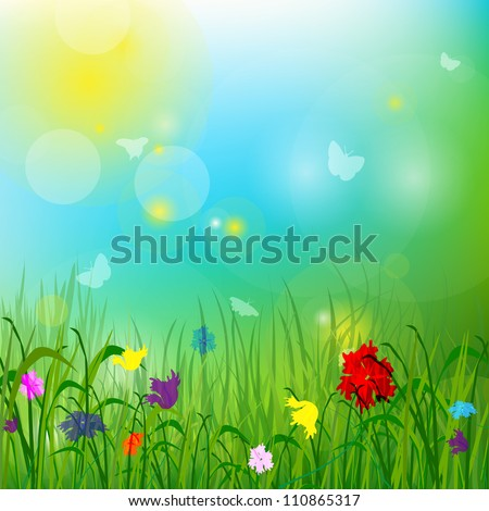 The grass, the sun, the flowers. Vector format EPS10, contains elements of transparency.