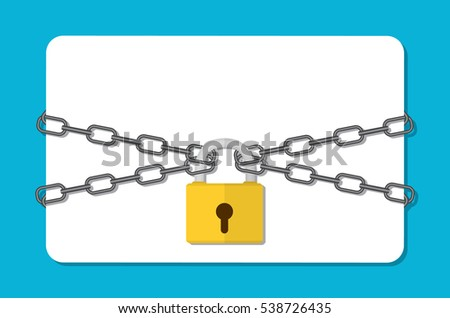 The gray metal chain and padlock, empty card. Security concept. flat illustration concept for web banners, web and mobile app, web sites, infographics. stock photo