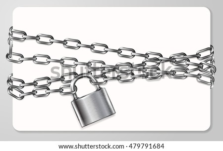 The gray metal chain and padlock, handcuffed card, vector illustration stock photo