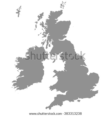 The Great Britain map in gray on a white  background