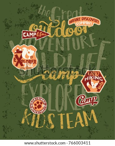 The great outdoor wildlife kids camp, cute vector print for children wear with embroidery patches