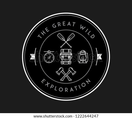 The great wild exploration white on black is a vector illustration about discovering and exploring