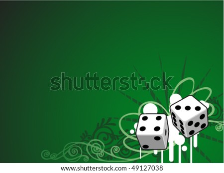 "The green background ""Casino"" with the dice and place for text"