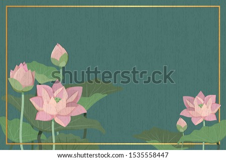The green background of Lotus Flower or Lily water and green leaf  in paper board texture, Buddhism Background with peaceful feeling, Thailand background, Pink Thai  Flowers and Floral