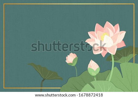 The green background of Lotus Flower or Lily water and green leaf  in paper board texture, Buddhism Background with peaceful feeling, Thailand background, Peach Thai  Flowers and Floral