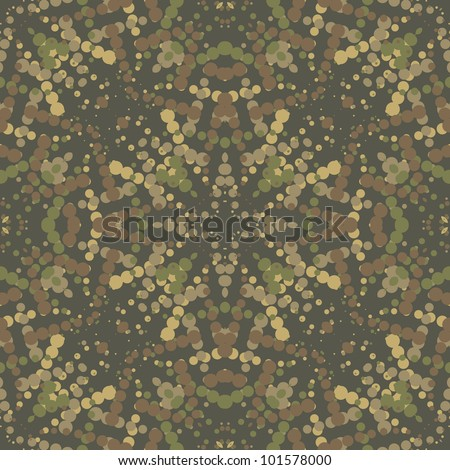 The green camouflage seamless background with circles. Vector illustration
