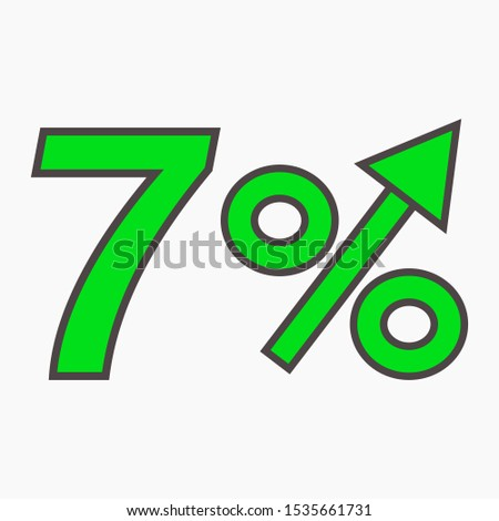 The green figure is 7  percent increase. Price increase icon. Sales. Profit growth. Increase revolutions. The increase in interest in the bank. Quality improvement. Icon of internet shops. Vector icon