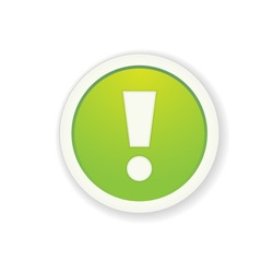 The green glossy button with exclamation mark / the exclamation mark button / the exclamation mark