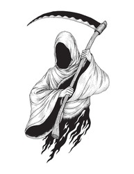 The Grim Reaper, Hand Drawn Pointillism Illustration, Isolated Vector