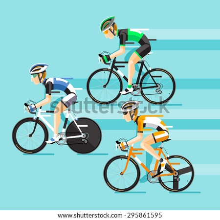 The Group of cyclists man in road bicycle racing. Vector illustrator.