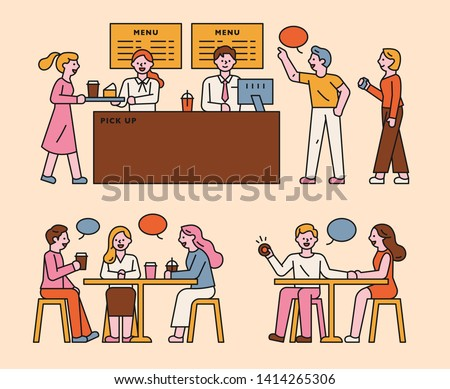 The guests are sitting at the coffee shop table talking and the barista is taking orders. The inside of the coffee shop. flat design style minimal vector illustration