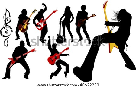 The guitarist plays solo party a guitar;