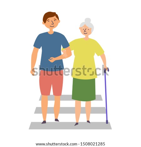 The guy helps the grandmother with disabilities cross the road. The manifestation of kindness. Editable vector illustration