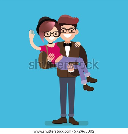 The guy holding the girl in his arms, a pair of hipsters, flat design