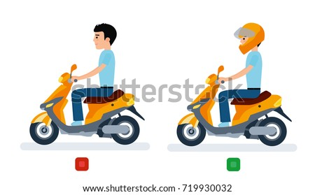 The guy rides a moped with a helmet and without a helmet, and safety regulations. Flat design vector illustration.