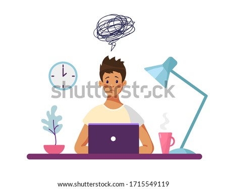 The guy sits at a desk with a computer and thinks about the difficulties encountered. Concept illustration, boy unhappy with school problems, professional burnout worker. Flat vector illustration